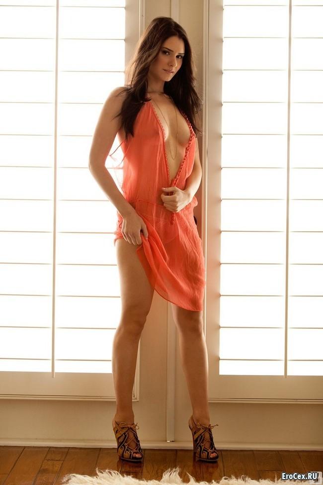 Фото брюнетки в прозрачном платье
